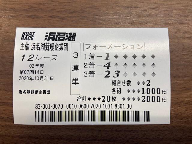 浜名湖12R解体新書記念競走の舟券
