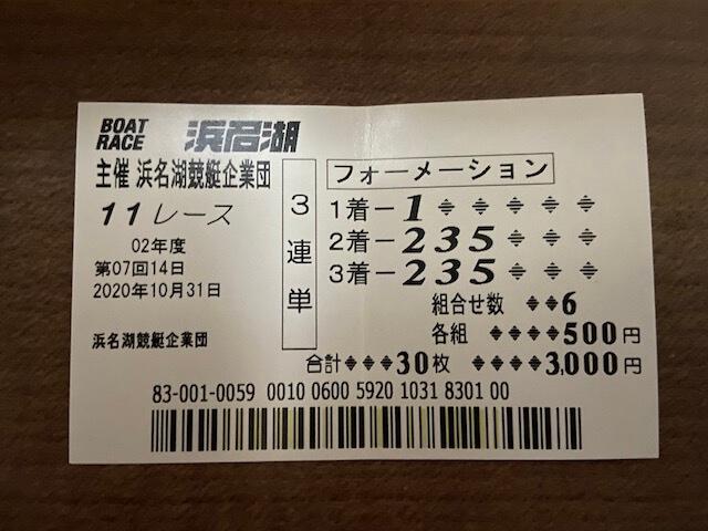 浜名湖11R解体新書記念競走の舟券