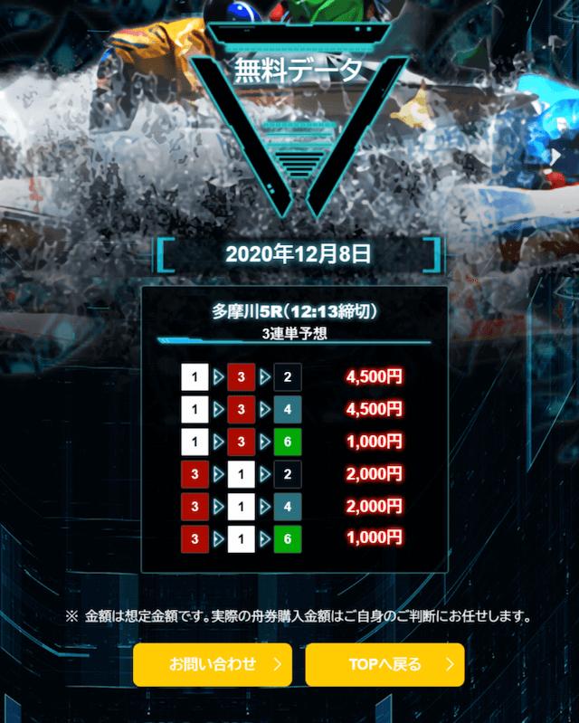 マジックボートの無料予想2020年12月8日多摩川5Rの買い目画像