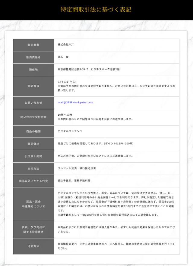 競艇情報サイト365特定商取引法
